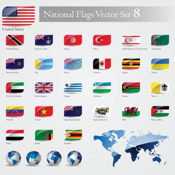 National Flags of the world emboss and round corner set 8