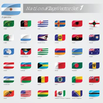 Vector National Flags of the world emboss and round corner set 1