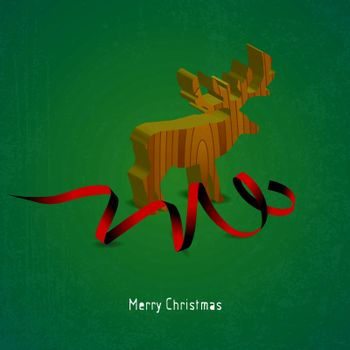 Christmas card with Reindeer wood and red ribbon