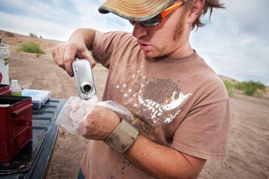 Movie Crew Member Pouring Explosive Powder