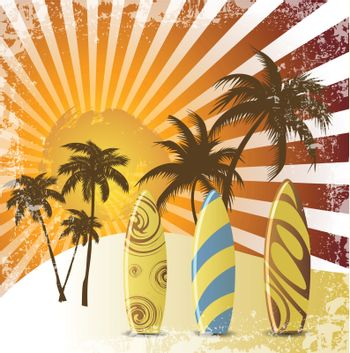 Grunge surfer poster,Tropical background with surfer