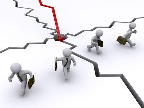 Businessmen running away of graph crash