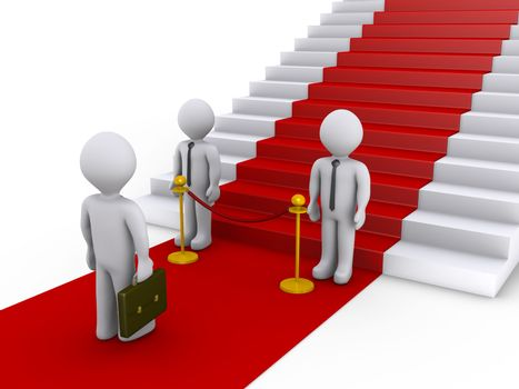 Businessman is refused access to stairs with red carpet