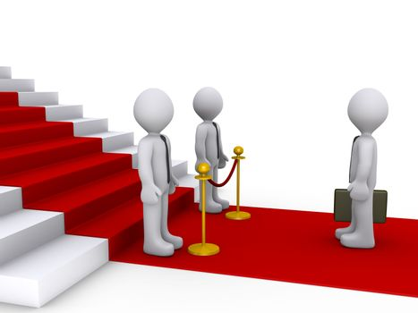 Businessman in front of stairs and two others are blocking his w