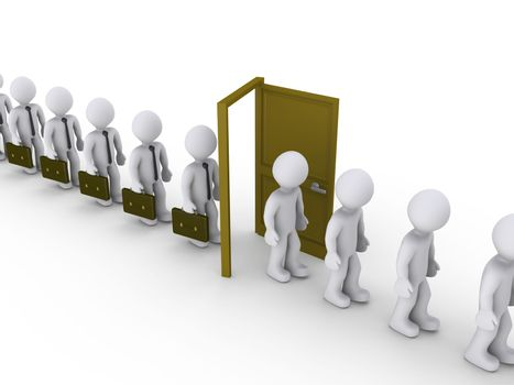 Businessmen are walking through door of unemployment