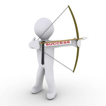 Businessman as archer using arrow with success tag