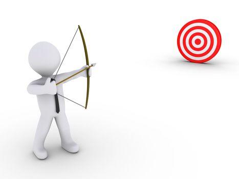 Businessman as an archer aiming at a target