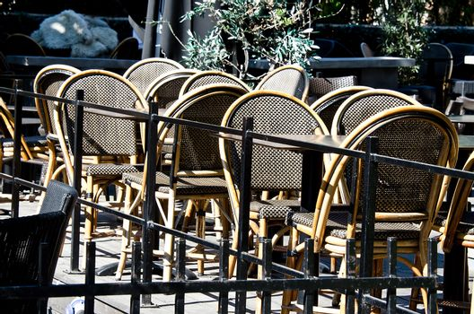 Outdoor cafe with nobody