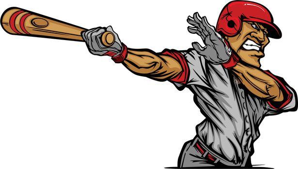 Cartoon Baseball Player Swinging Bat Design