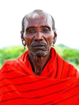 Portrait of an African chief warrior