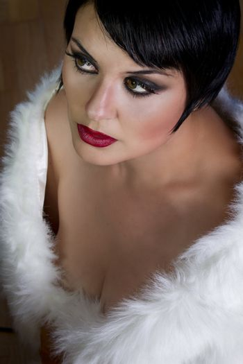 20s style beautiful brunette female wearing fur, exquisite old h