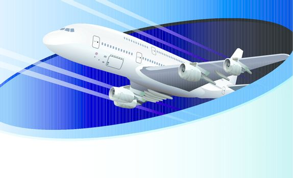 Illustration template with airplane and copy space