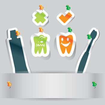 paper cut dental health teeth icon with copy space