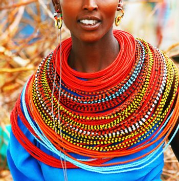 AFRICA, KENYA, SUMBURU, NOVEMBER 8:Portrait of Sumburu woman wearing traditional handmade accessories, review of daily life of local people, near Sumburu Park National Reserve,November 8,2008,Kenya