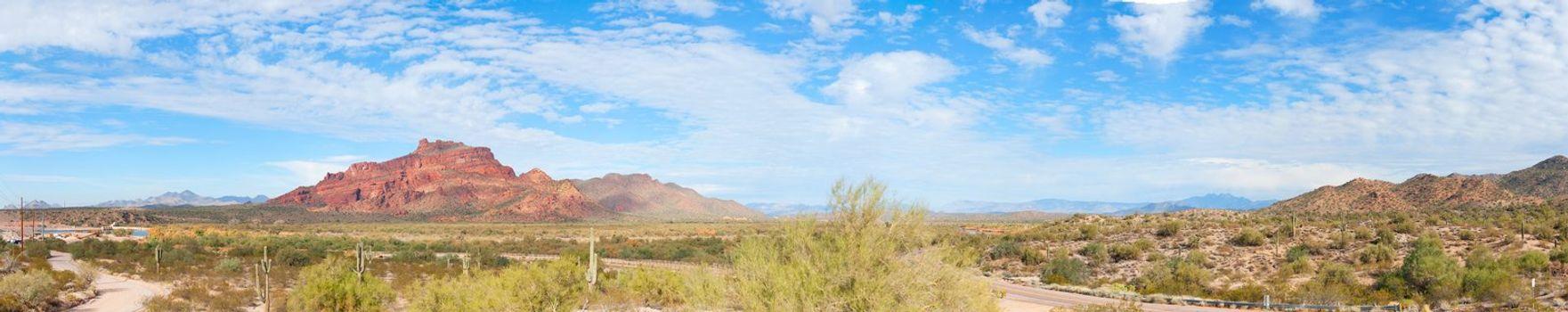 Panorama of Red Mountain in Arizona