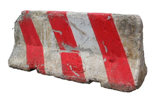 Red and white concrete barriers blocking the road. Isolated on white background