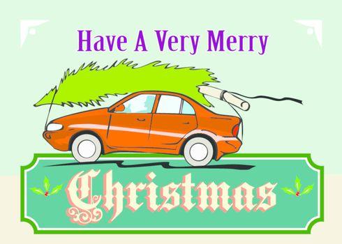 Merry Christmas Tree Car Automobile