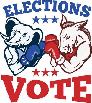 Democrat Donkey Republican Elephant Mascot Election Vote