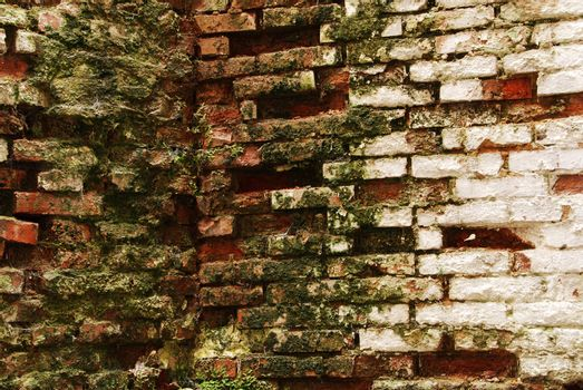 An old wall background with cracked paint and broken bricks