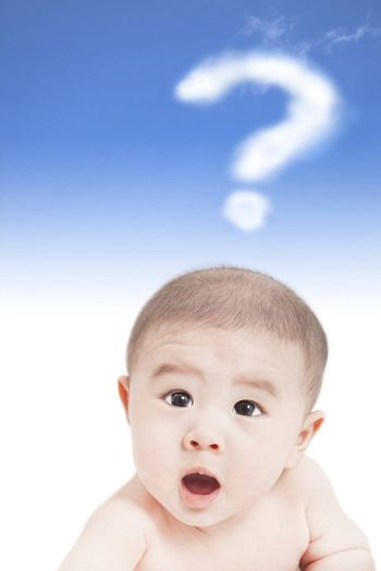 asian baby with question mark cloud