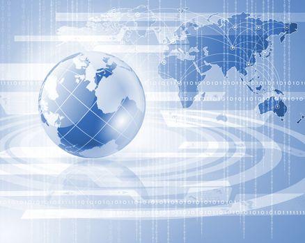 Blue globe on the digital technology background