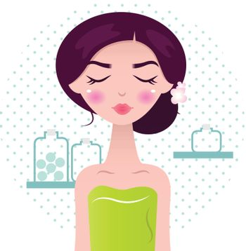 Cute wellness Woman with closing her eyes and flowers in hair on dotted circle background. Vector Illustration