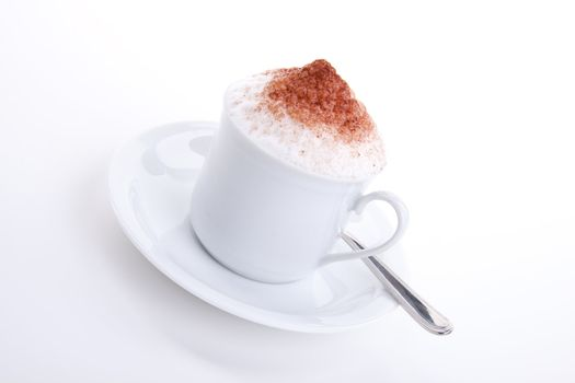 fresh capuccino with chocolate and milk foam isolated