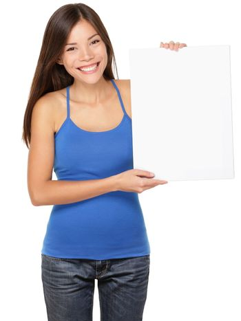 Sign woman holding showing white sign