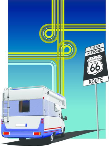 Cover for brochure  with camper van and junction image. Route 66