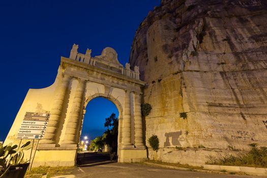Naples gate on the Appian Way in the Italian town of Terracina