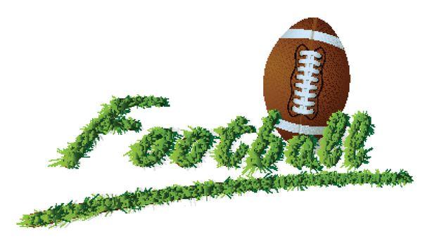isolated headline Grass Text Football and ball