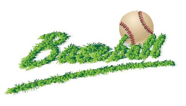 isolated headline Grass Text baseball and ball