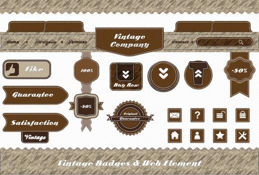 vintage style web element and labels design set