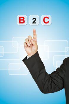 Businessman with word B2C