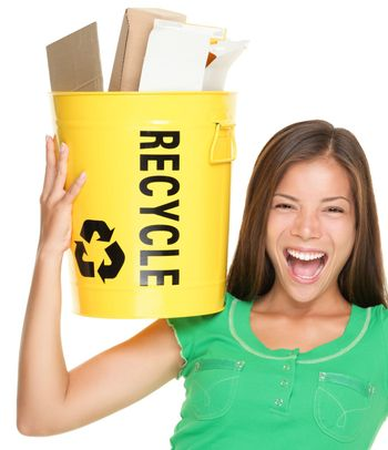 Recycle woman recycling paper