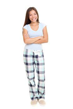 Woman standing in pajamas