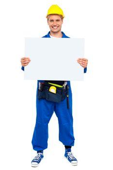 Industrial contractor showing blank billboard