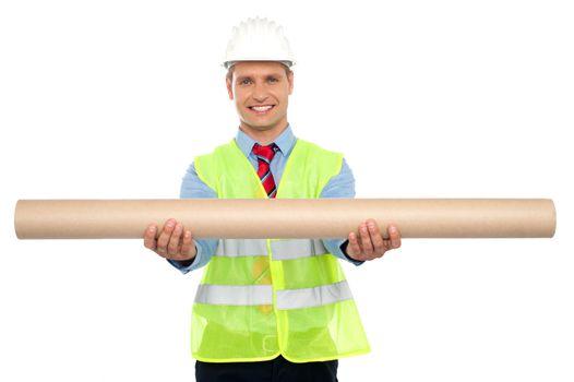 Successful architect presenting blueprints