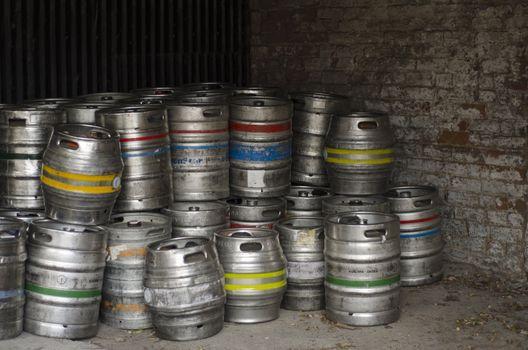 Metal beer barrels
