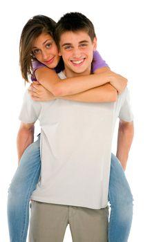 teenage boy piggybacking teenage girl
