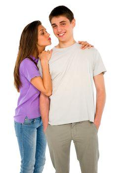 teenage girl kissing teenage boy