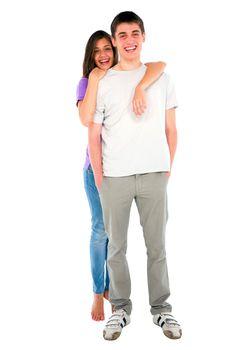 teenage girl embracing teenage boy
