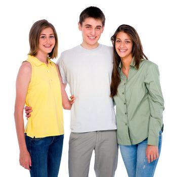 teenage boy embracing teenage girls