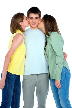 teenage girls kissing teenage boy