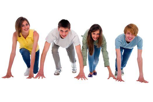 teenagers on starting grid