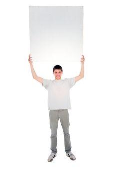teenage boy with white panel