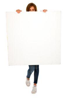 teenage girl with white panel