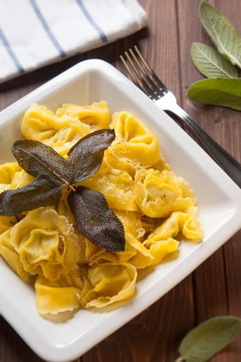 Ravioli stuffed to artichokes with butter and sage