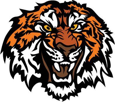 Tiger Head Snarling Graphic Mascot