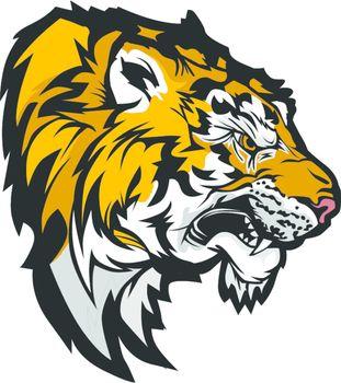 Tiger Head Profile Graphic Mascot Illustration